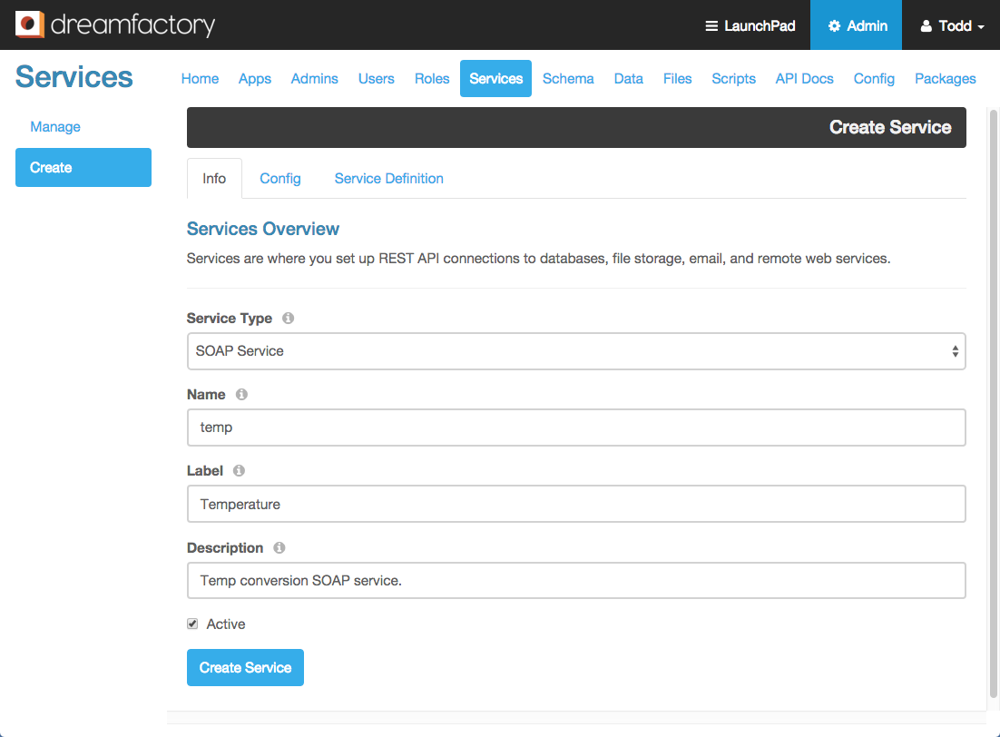 REST enable your SOAP services with DreamFactory